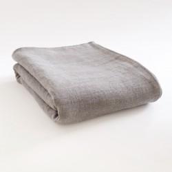 Dessus de lit en lin natté zinc 100% made in France par Charvet Editions