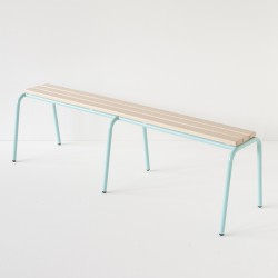véritable banc d'école 160cm turquoise 100% made in France