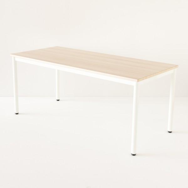Table décole 180x80cm blanche plateau stratifié hêtre