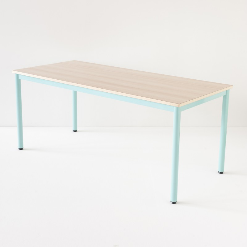 Table décole 180x80cm turquoise plateau stratifié hêtre