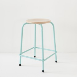 tabouret école mi-haut turquoise 100% made in France