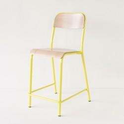 chaise d'école haute jaune