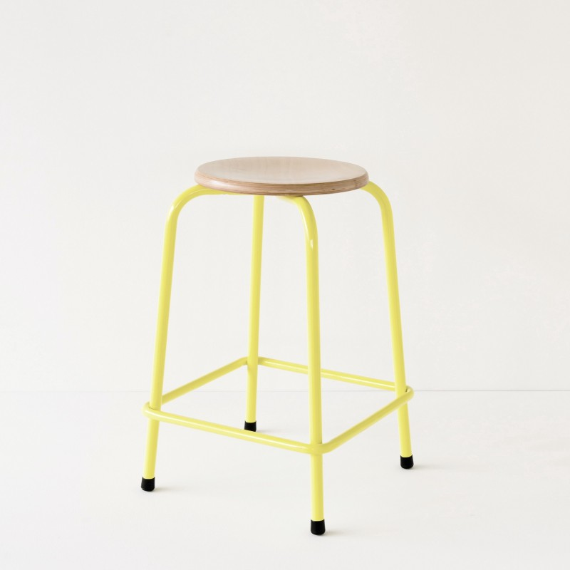 tabouret rond d 39 cole hauteur 60cm jaune. Black Bedroom Furniture Sets. Home Design Ideas