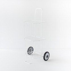 chariot à courses pliable blanc