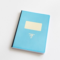 Cahier A5 dos toilé couverture rétro turquoise