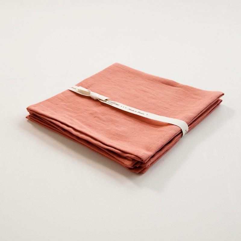 Serviette de table en lin coloris corail - Serviette table lin ...