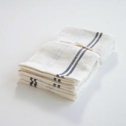 torchon lin lavé blanc liseré noir de chez Charvet Editions