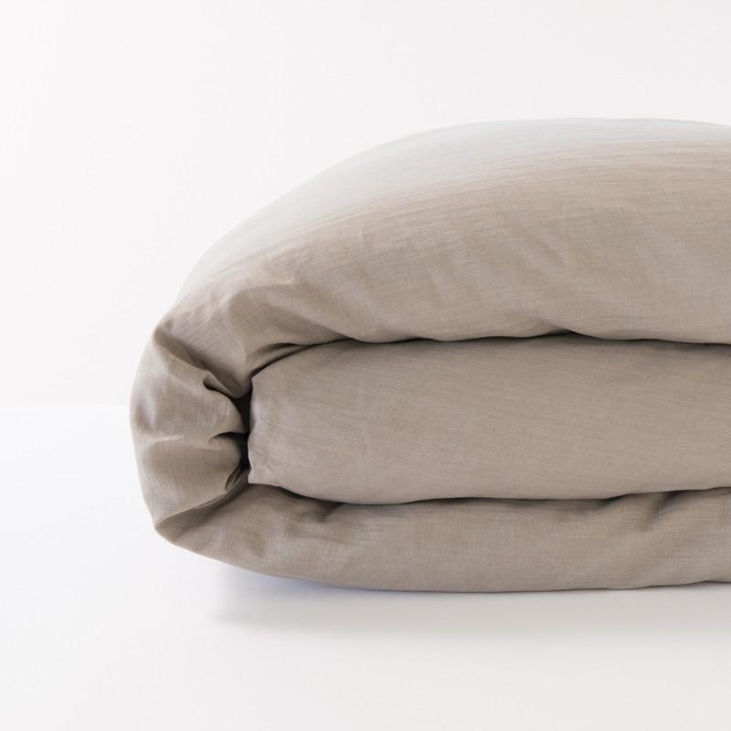 housse de couette en lin 100 pur fil coloris gr ge. Black Bedroom Furniture Sets. Home Design Ideas