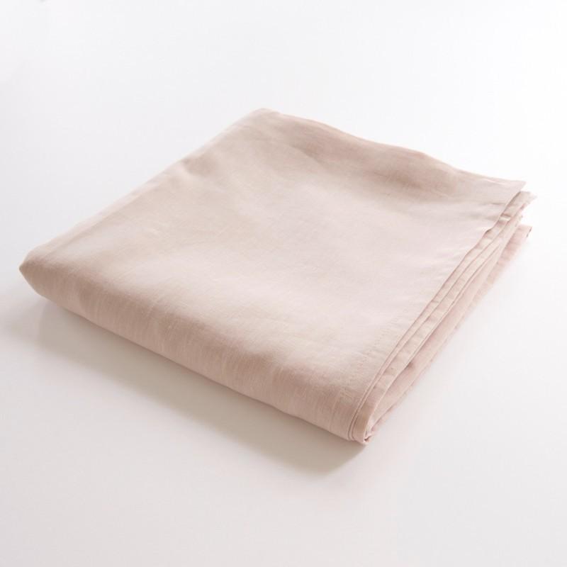 Drap de lit plat en lin 100 pur fil coloris poudre for Draps de lit