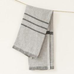 serviette PM lin gris noir