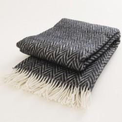 plaid laine naturelle chevrons noirs