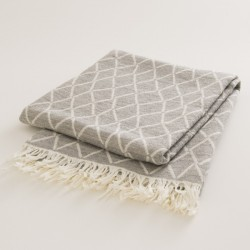 plaid laine naturelle losanges gris