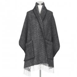 châle laine naturelle chevrons noirs