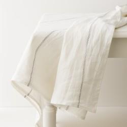nappe lin lavé blanc liseré noir par Charvet editions