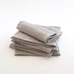 Serviette 45x45 en lin délavé gris par Charvet Editions (Nord)