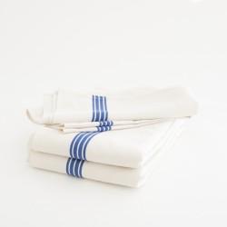 Torchon en lin coton lavé bandes bleus par Charvet Editions