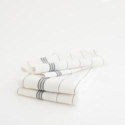 """Torchon en lin """"essuie-verre"""" léger et frais, lin lavé et rayures noires par Charvet Editions."""