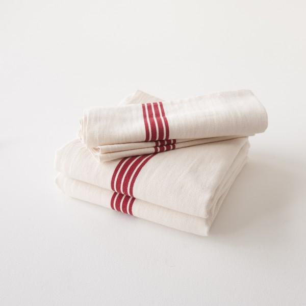 Torchon en lin coton lavé bandes rouges 100% made in France par Charvet Editions