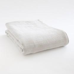Dessus de lit en lin natté craie 100% made in France par Charvet Editions