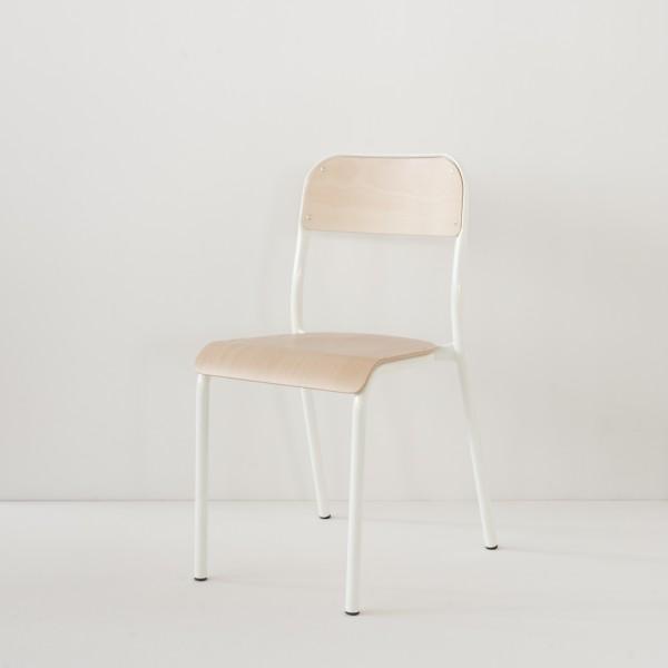 véritable chaise d'école 100% made in France coloris blanc