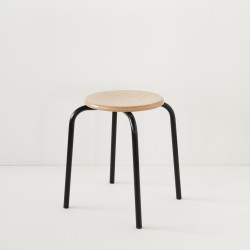 véritable tabouret d'école noir 100% made in france