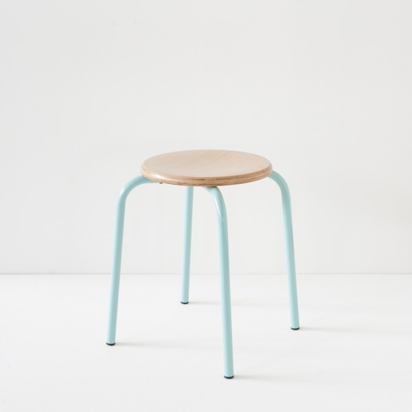 véritable tabouret d'école turquoise 100% made in France