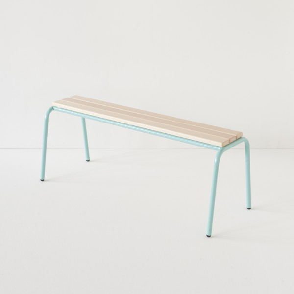 véritable banc d'école 120cm bleu 100% made in France
