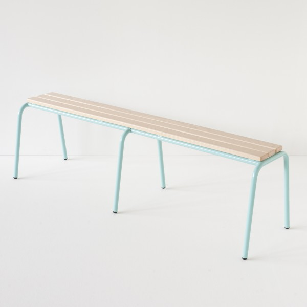 véritable banc d'école 160cm turquoise 100% made in France