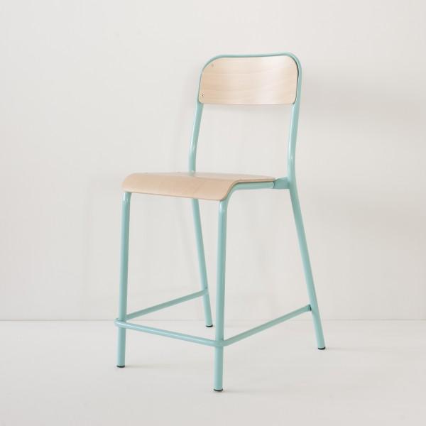 chaise d'école haute turquoise pour cuisines américaines