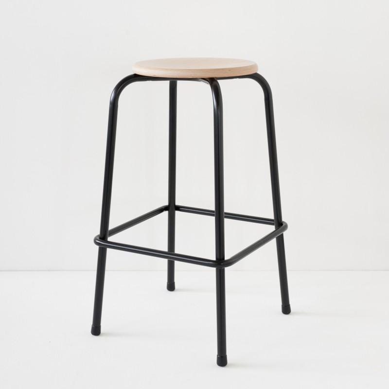 tabouret d 39 cole de bar noir hauteur 70cm. Black Bedroom Furniture Sets. Home Design Ideas