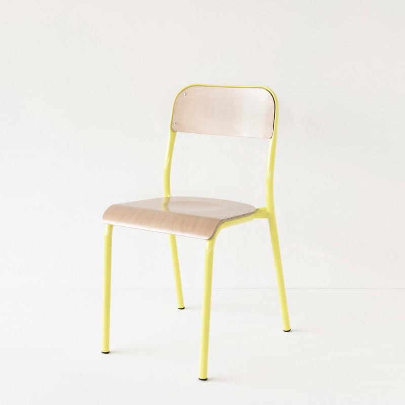 chaise d 39 cole jaune citron. Black Bedroom Furniture Sets. Home Design Ideas