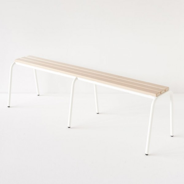 véritable banc d'école 160cm blanc 100% made in France
