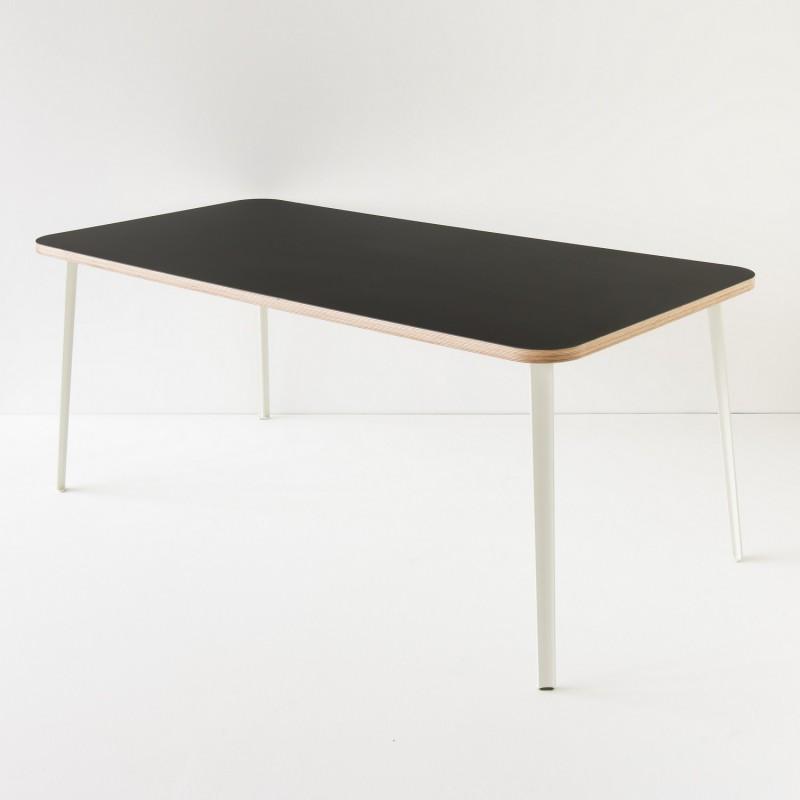 table linoleum 180x90 coloris noir pieds au choix. Black Bedroom Furniture Sets. Home Design Ideas