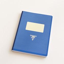 Cahier A5 dos toilé couverture rétro bleu