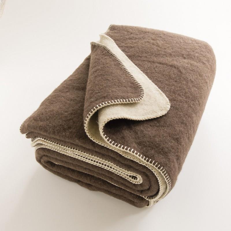 couverture pure laine ultra chaude r versible marron cru. Black Bedroom Furniture Sets. Home Design Ideas