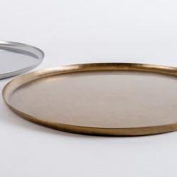 plateau inox patiné bronze