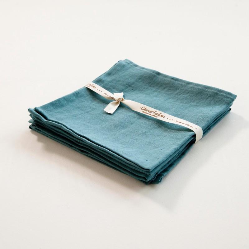 serviette de table en lin coloris turquoise. Black Bedroom Furniture Sets. Home Design Ideas