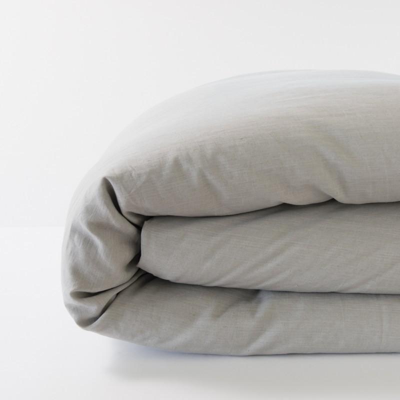 housse de couette en lin 100 pur fil coloris cendre. Black Bedroom Furniture Sets. Home Design Ideas