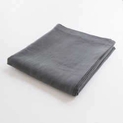 drap de lit plat 100% lin ardoise