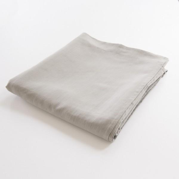 drap de lit plat 100% lin cendre