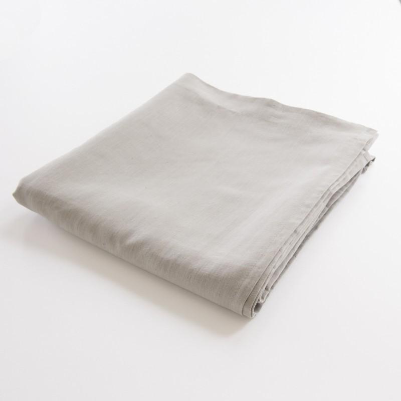 drap de lit plat en lin 100 pur fil coloris cendre. Black Bedroom Furniture Sets. Home Design Ideas