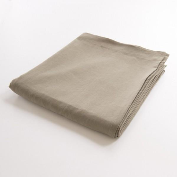 drap de lit plat 100% lin grège