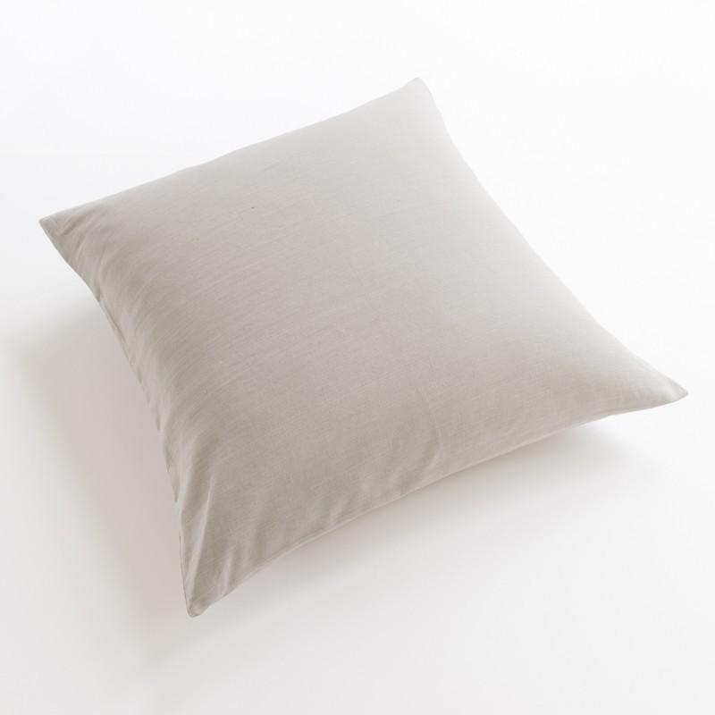 taie d 39 oreiller et de traversin en lin 100 pur fil coloris cendre. Black Bedroom Furniture Sets. Home Design Ideas