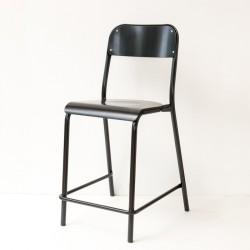 chaise d'école haute laquée noire