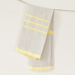 serviette PM lin gris jaune de chez Lapuan Kankurit