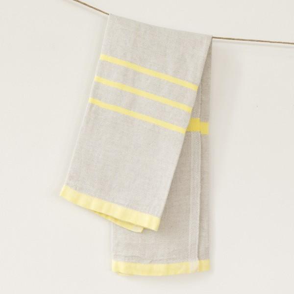 serviette PM lin gris jaune