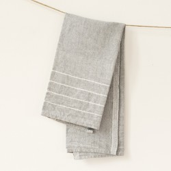 serviette PM lin gris blanc
