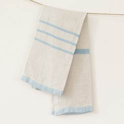 serviette PM lin gris bleu