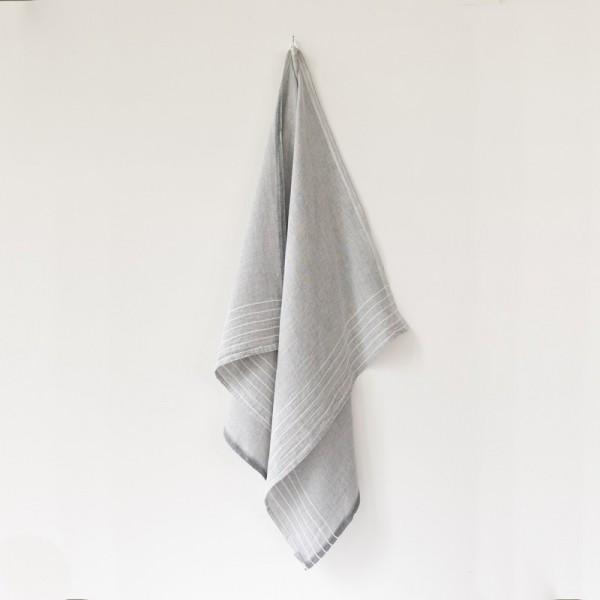 serviette GM lin gris blanc