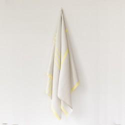 serviette GM lin gris jaune de chez Lapuan Kankurit